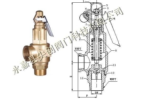 全铜手拉式安全泄压阀范围        产品型号